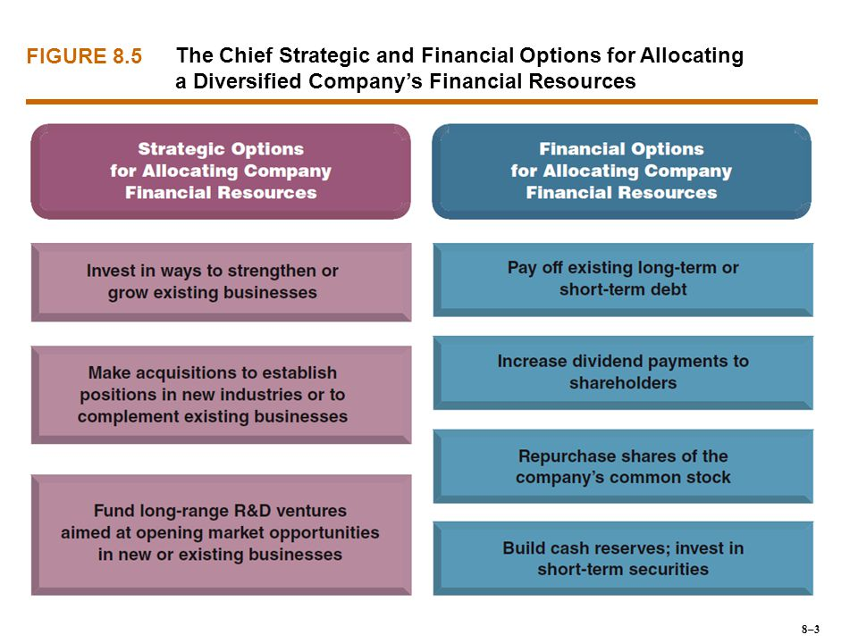 FIGURE 8.5 The Chief Strategic and Financial Options for Allocating a Diversified Company's Financial Resources.