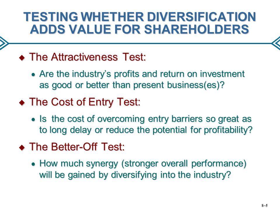 TESTING WHETHER DIVERSIFICATION ADDS VALUE FOR SHAREHOLDERS