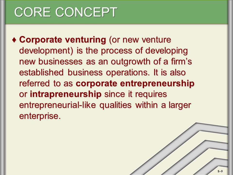 Corporate venturing (or new venture development) is the process of developing new businesses as an outgrowth of a firm's established business operations. It is also referred to as corporate entrepreneurship or intrapreneurship since it requires entrepreneurial-like qualities within a larger enterprise.