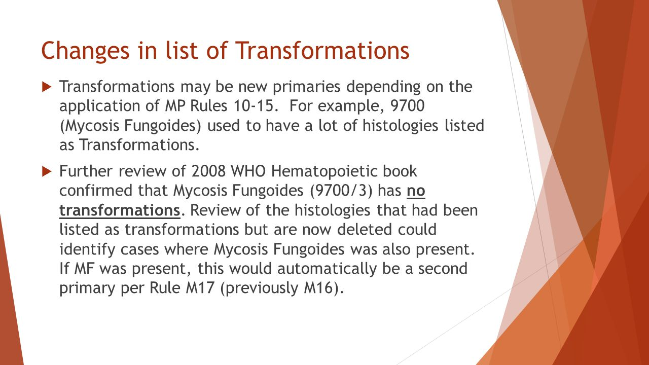 Changes in list of Transformations
