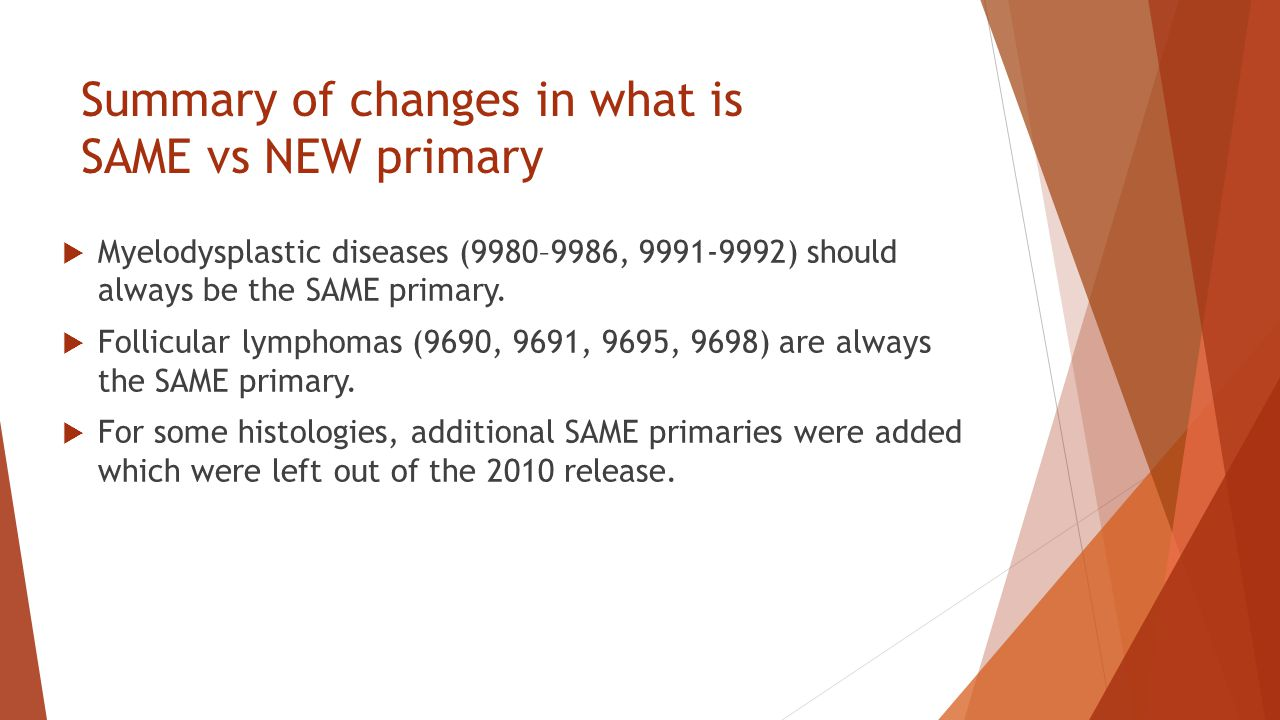 Summary of changes in what is SAME vs NEW primary