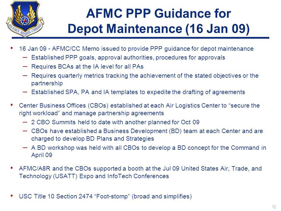 AFMC PPP Guidance for Depot Maintenance (16 Jan 09)