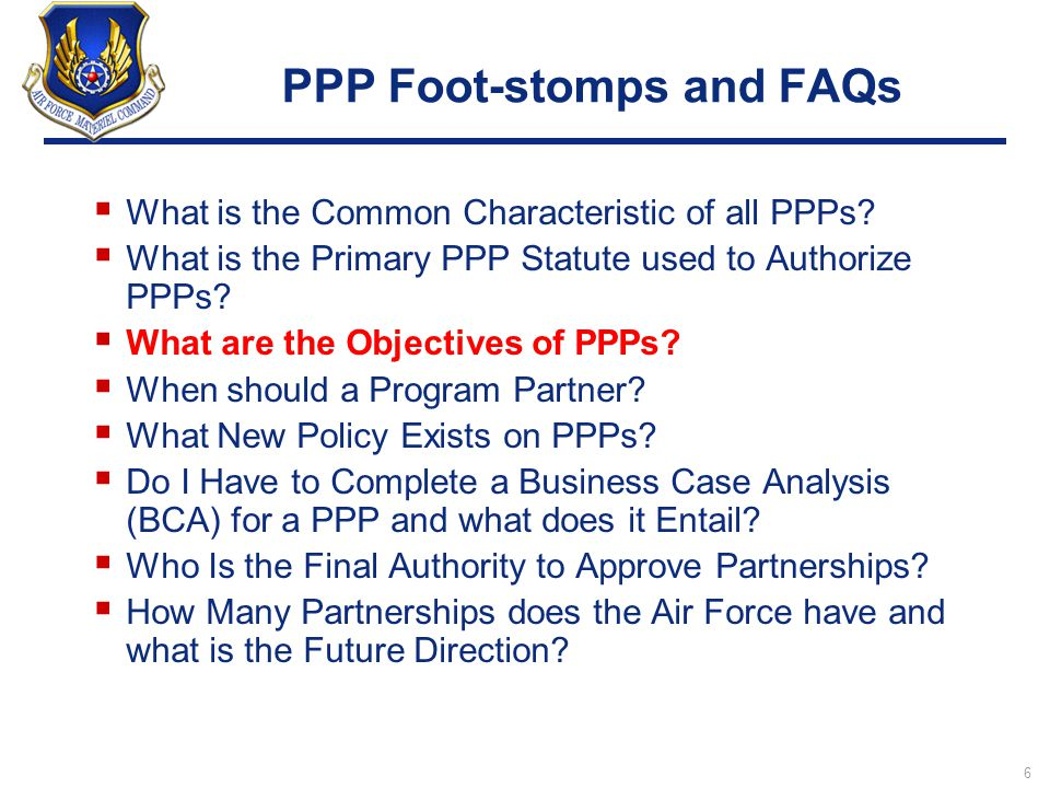 PPP Foot-stomps and FAQs