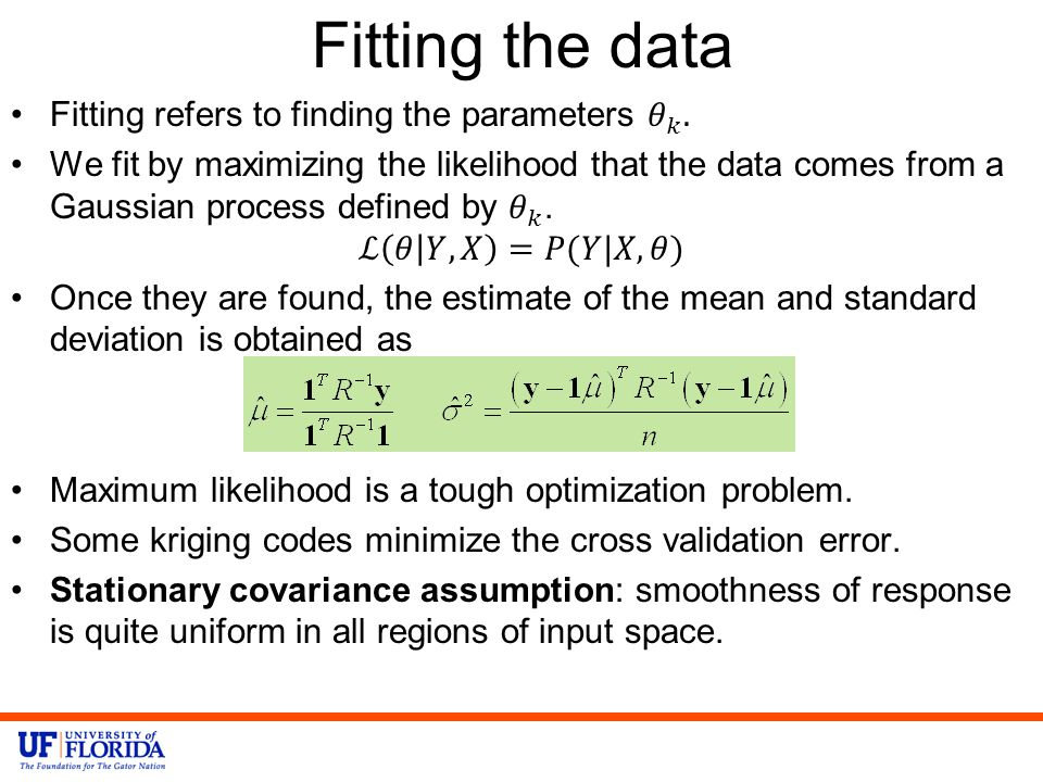 Fitting the data Fitting refers to finding the parameters 𝜃 𝑘 .