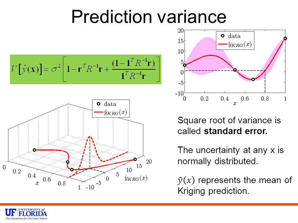 Prediction variance Square root of variance is called standard error.