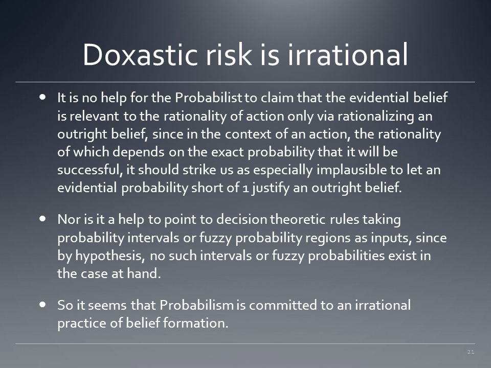 Doxastic risk is irrational