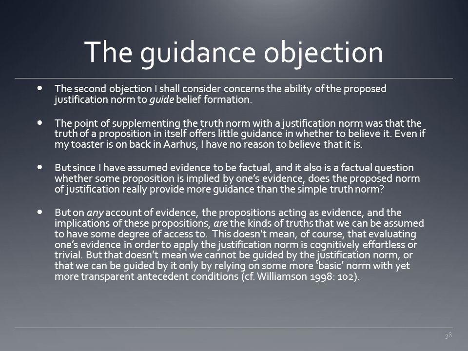 The guidance objection
