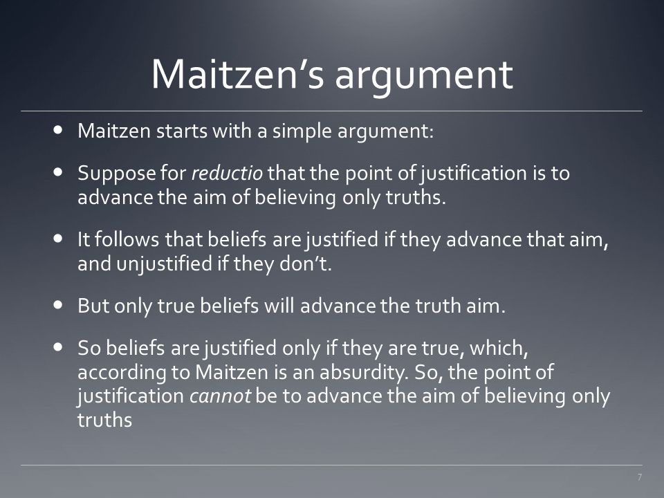 Maitzen's argument Maitzen starts with a simple argument: