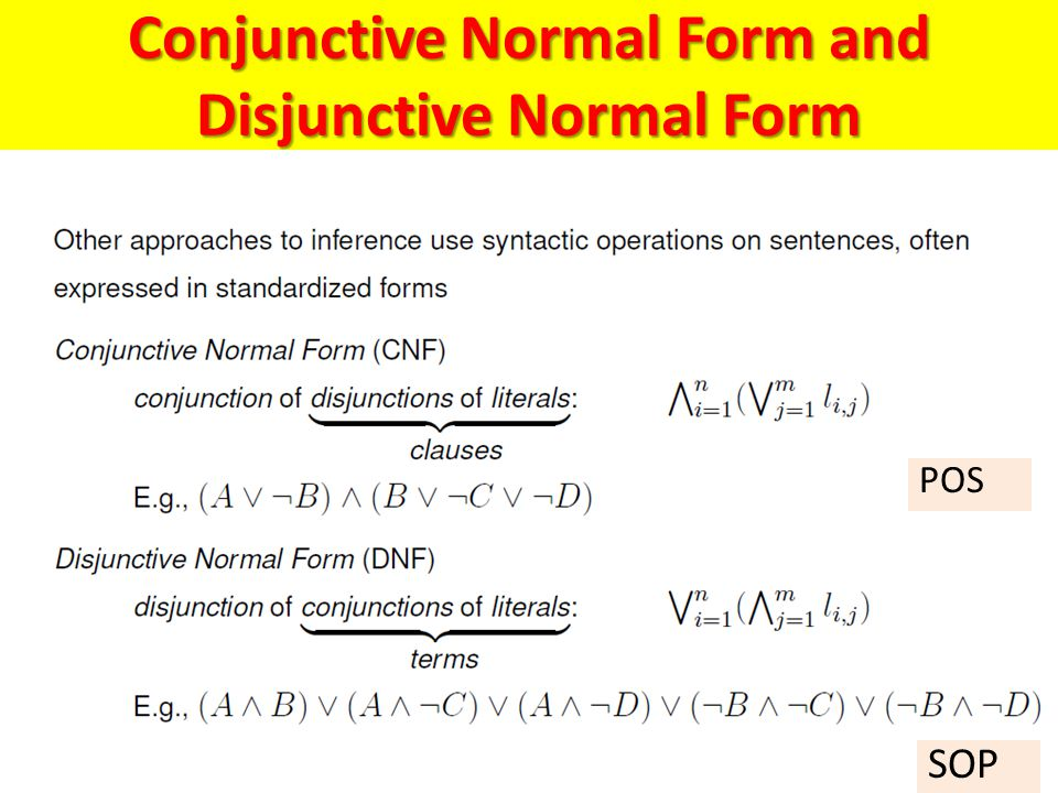 Conjunctive Normal Form and Disjunctive Normal Form