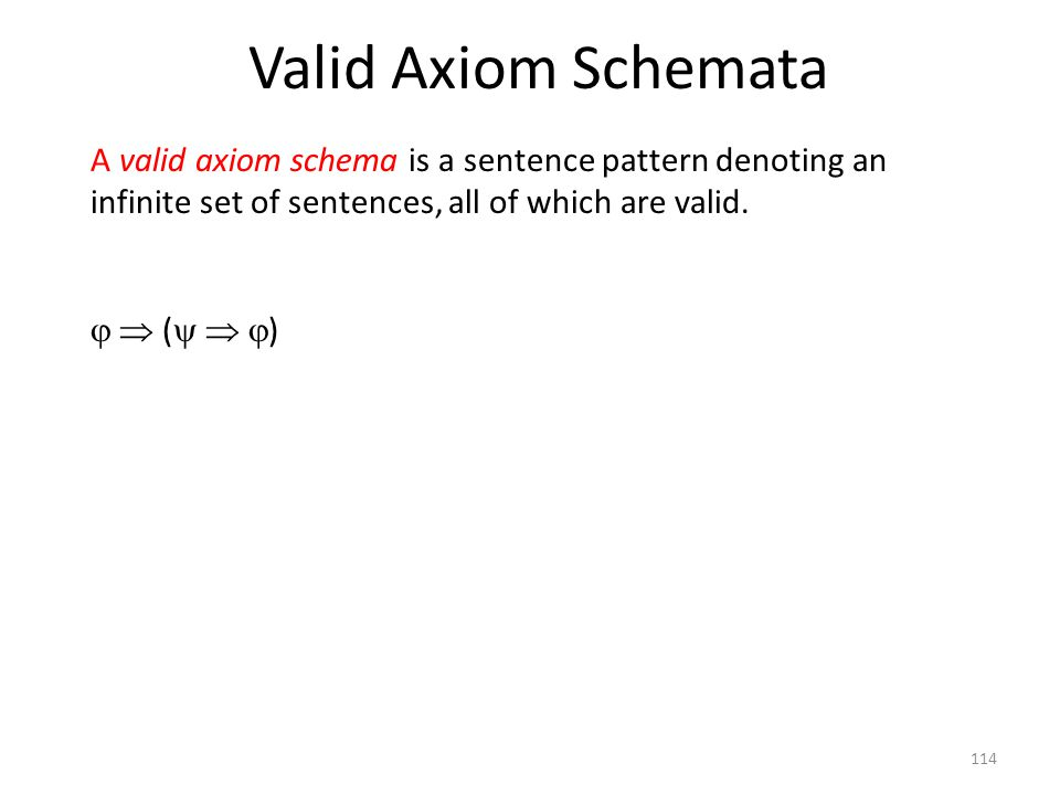 Valid Axiom Schemata A valid axiom schema is a sentence pattern denoting an infinite set of sentences, all of which are valid.