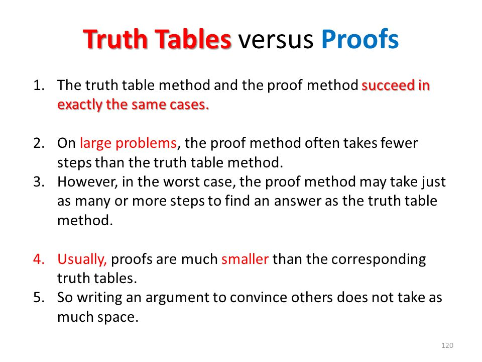 Truth Tables versus Proofs