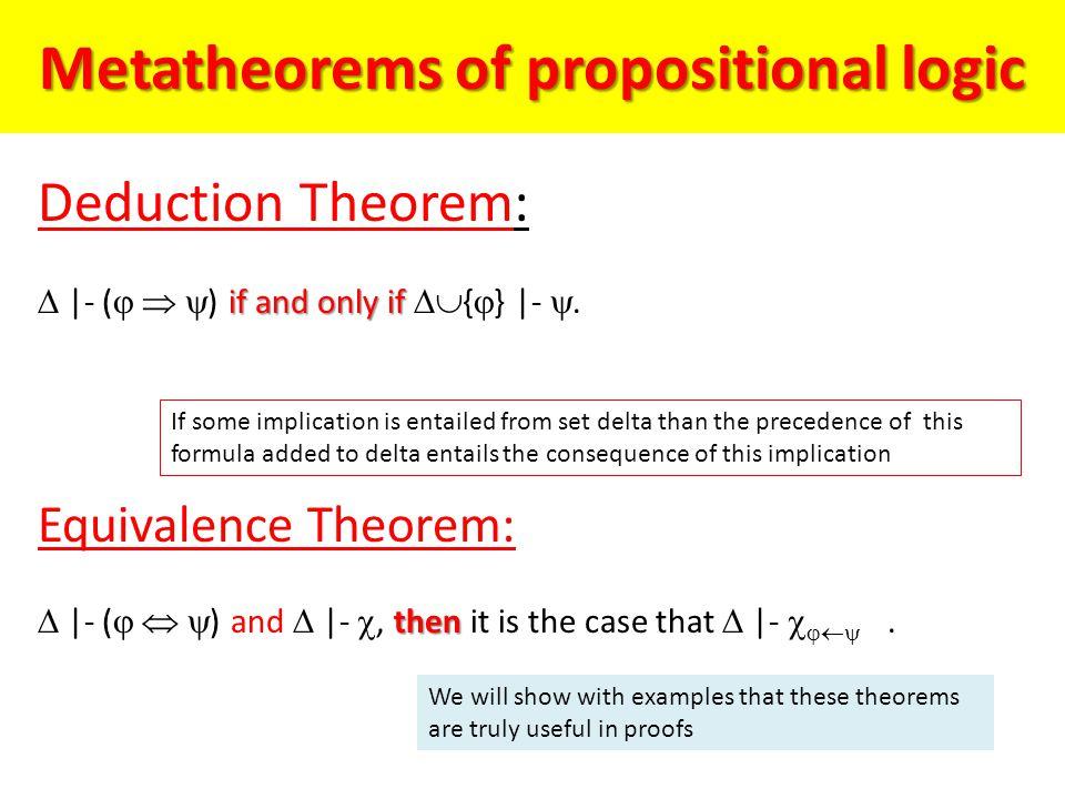 Metatheorems of propositional logic