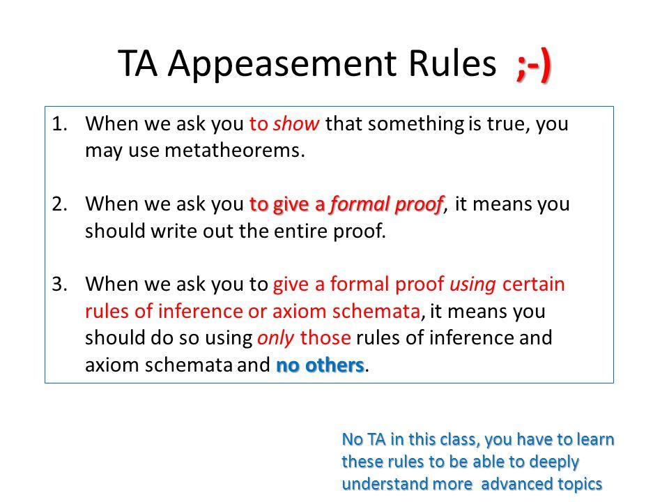 TA Appeasement Rules ;-)