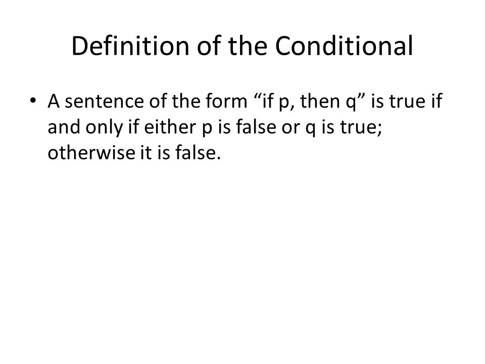 Definition of the Conditional
