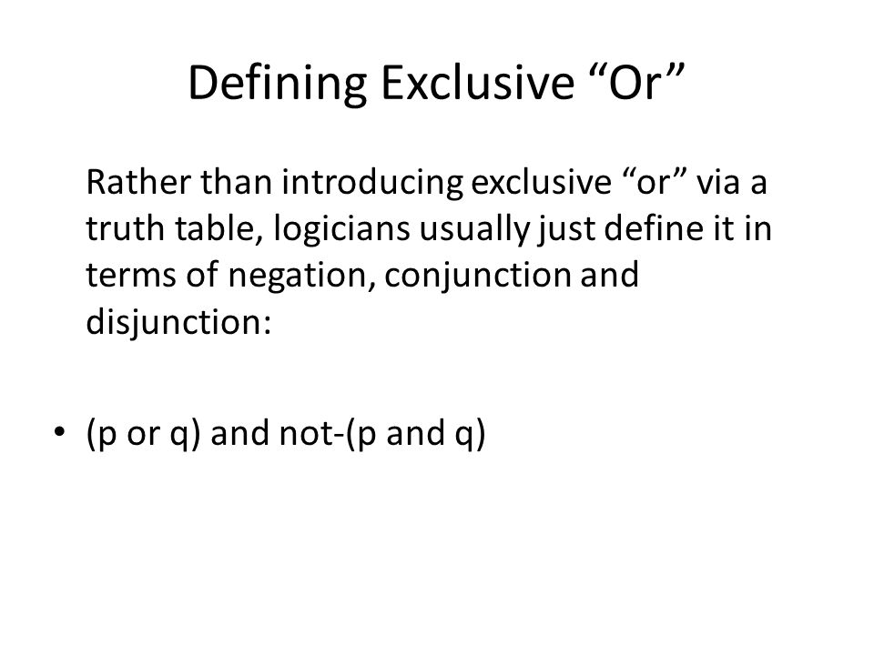 Defining Exclusive Or