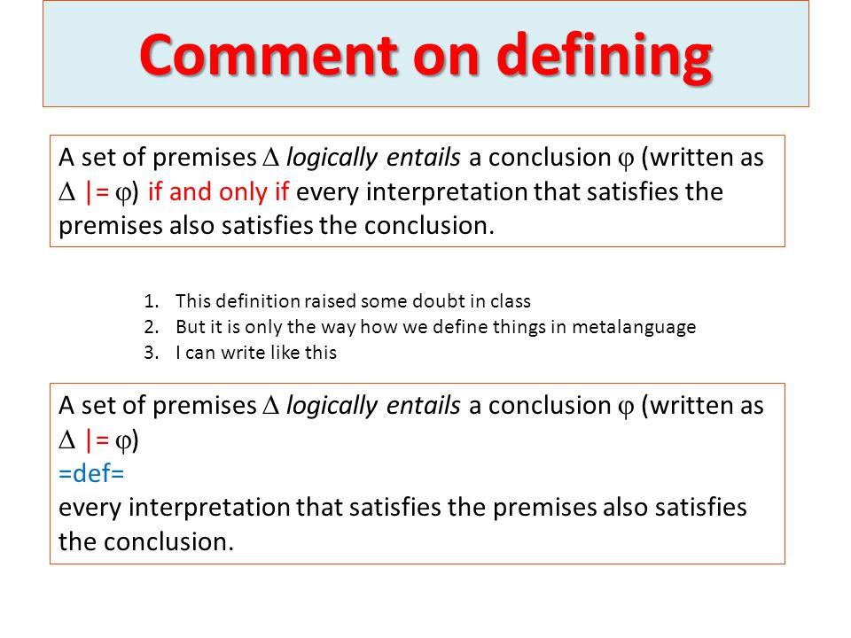 Comment on defining