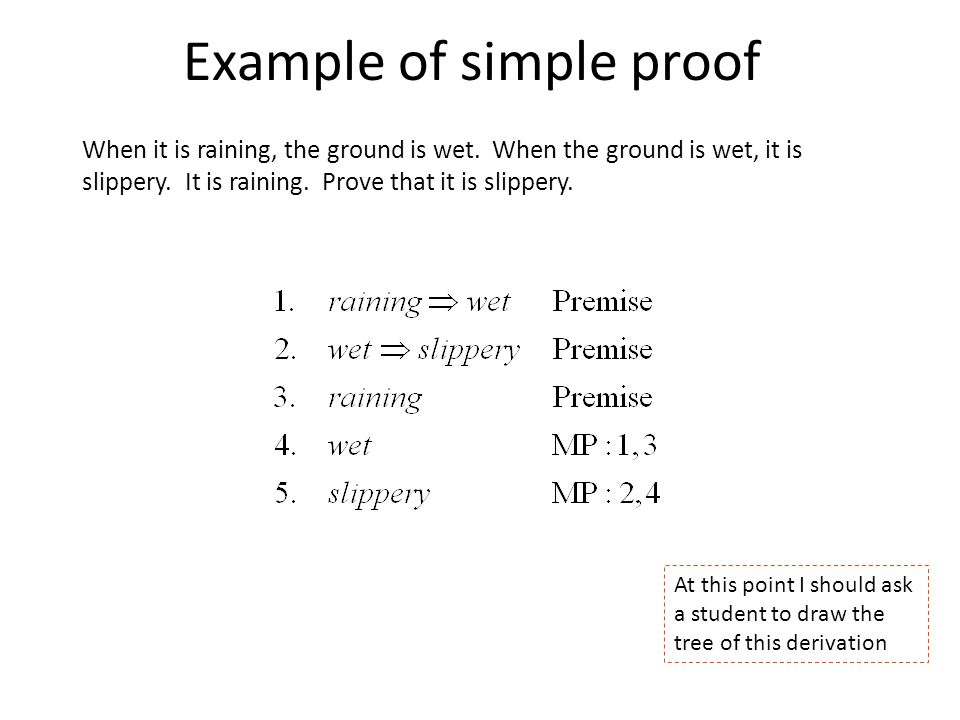Example of simple proof