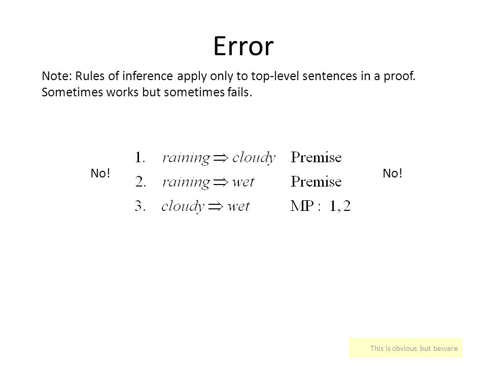 Error Note: Rules of inference apply only to top-level sentences in a proof. Sometimes works but sometimes fails.