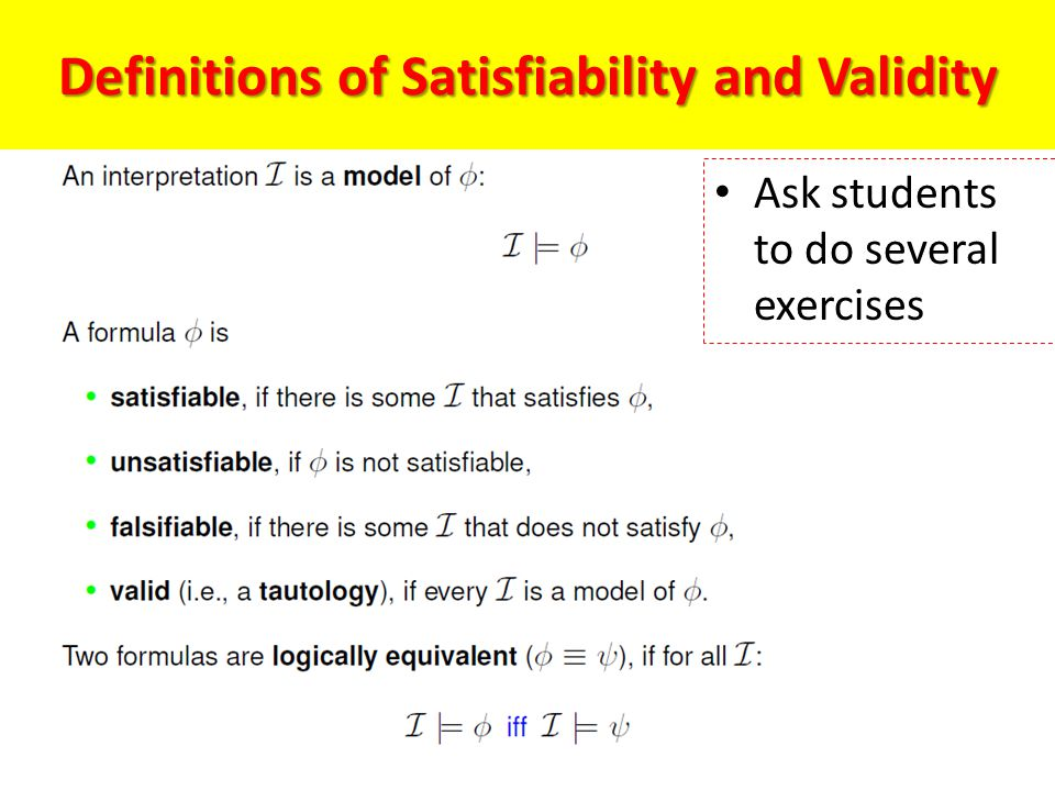 Definitions of Satisfiability and Validity