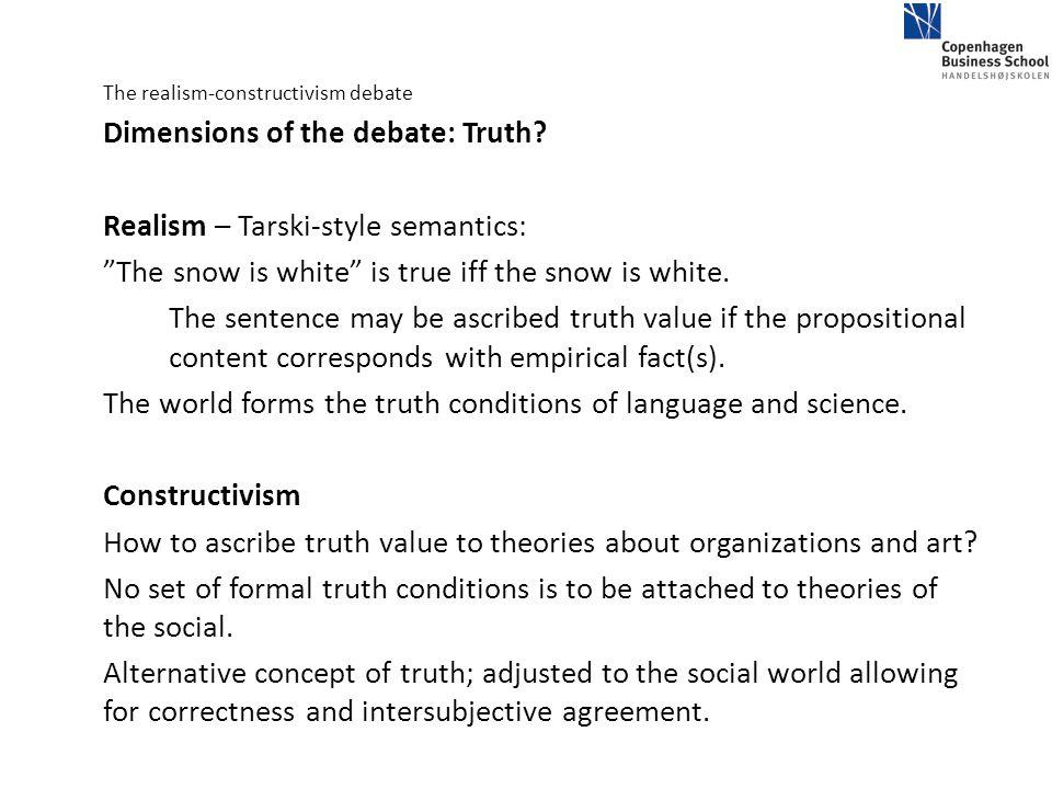 Realism – Tarski-style semantics:
