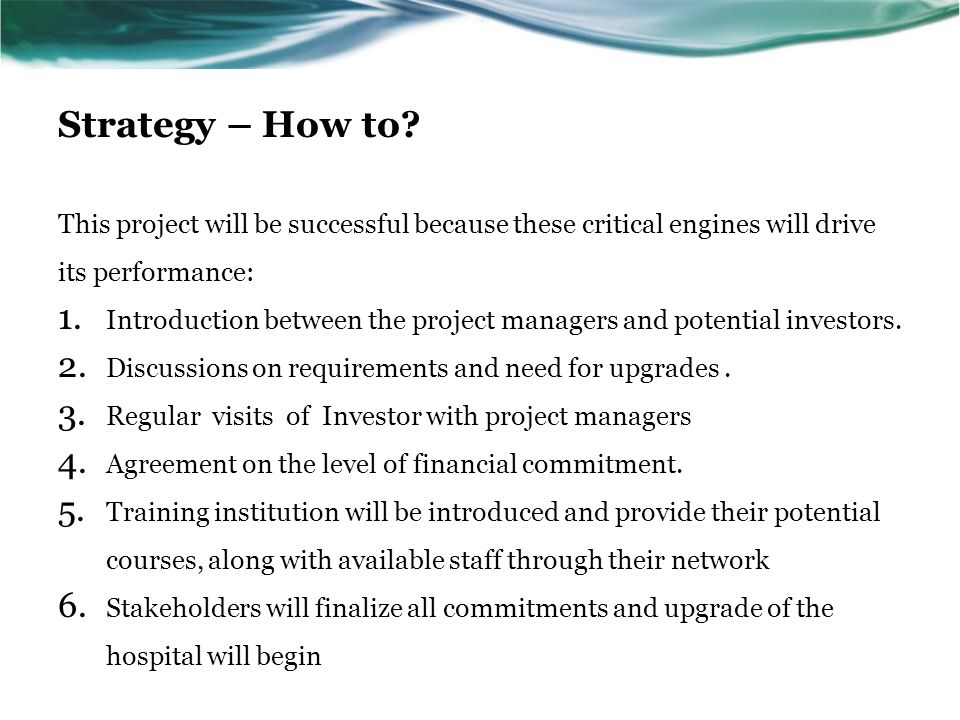 Strategy – How to This project will be successful because these critical engines will drive its performance: