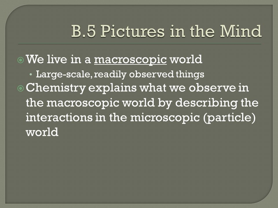 B.5 Pictures in the Mind We live in a macroscopic world