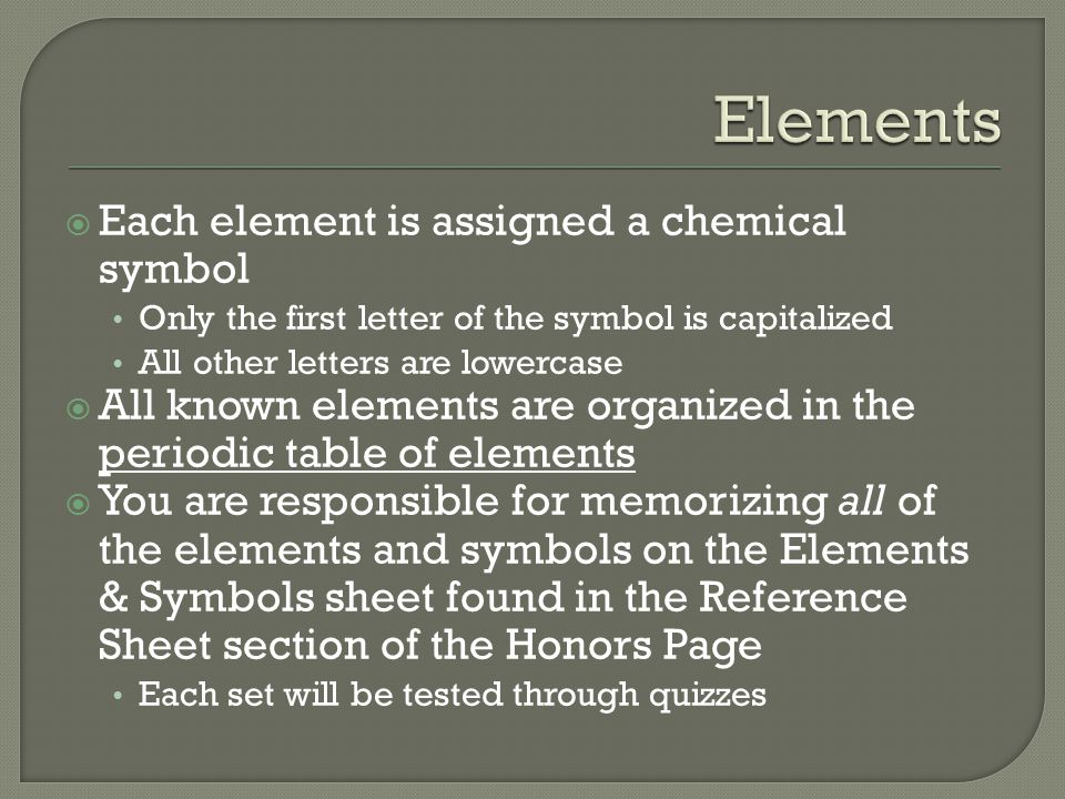 Elements Each element is assigned a chemical symbol