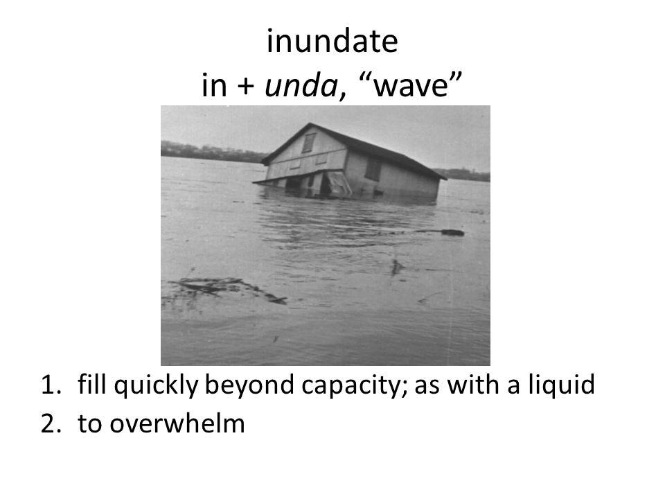 inundate in + unda, wave