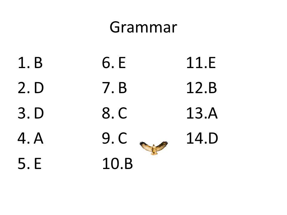 Grammar B D C A E
