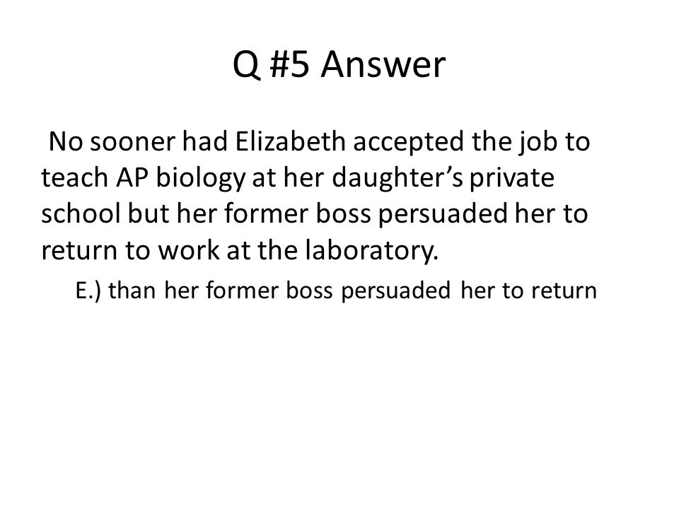 Q #5 Answer
