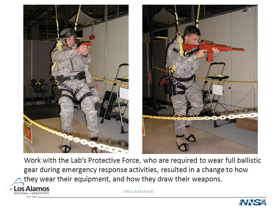Work with the Lab's Protective Force, who are required to wear full ballistic gear during emergency response activities, resulted in a change to how they wear their equipment, and how they draw their weapons.