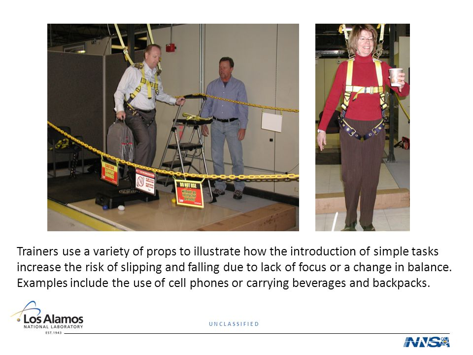 Trainers use a variety of props to illustrate how the introduction of simple tasks increase the risk of slipping and falling due to lack of focus or a change in balance.