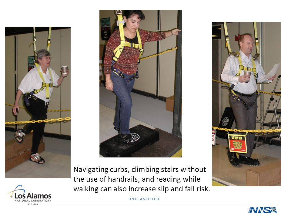 Navigating curbs, climbing stairs without the use of handrails, and reading while walking can also increase slip and fall risk.
