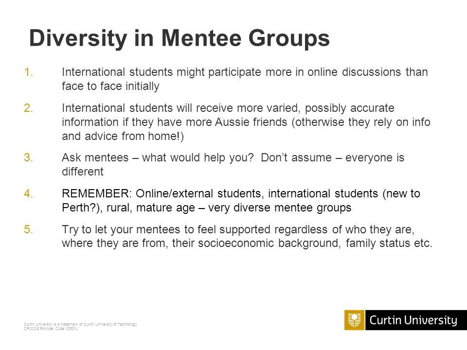 Diversity in Mentee Groups