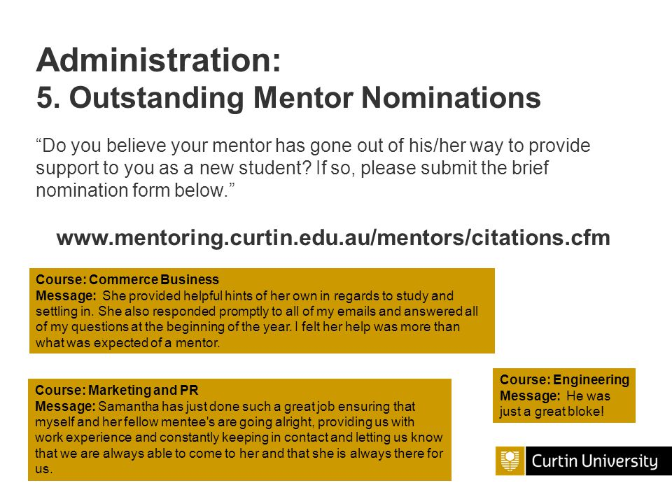 Administration: 5. Outstanding Mentor Nominations