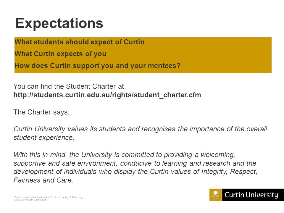Expectations What students should expect of Curtin