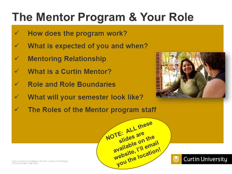 The Mentor Program & Your Role