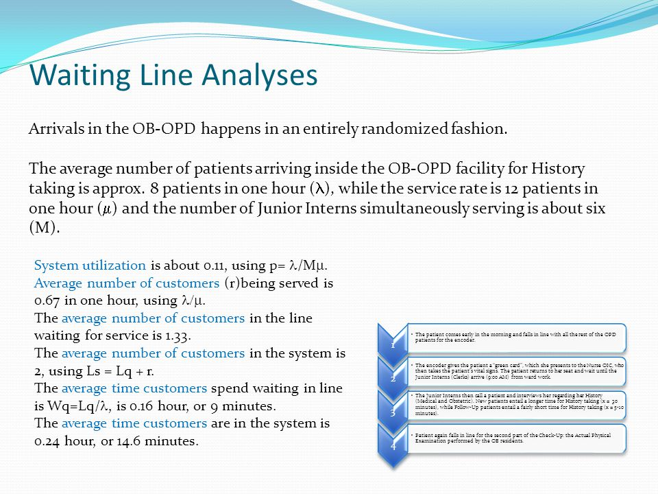 Waiting Line Analyses Arrivals in the OB-OPD happens in an entirely randomized fashion.