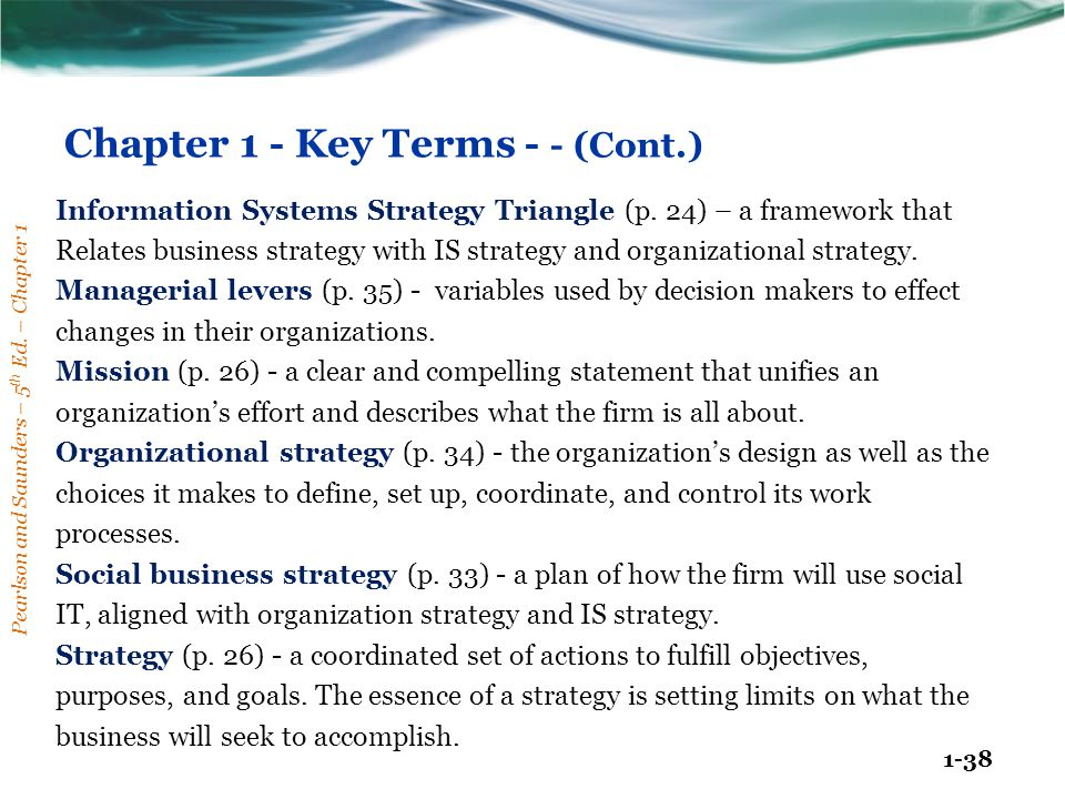 Chapter 1 - Key Terms - - (Cont.)