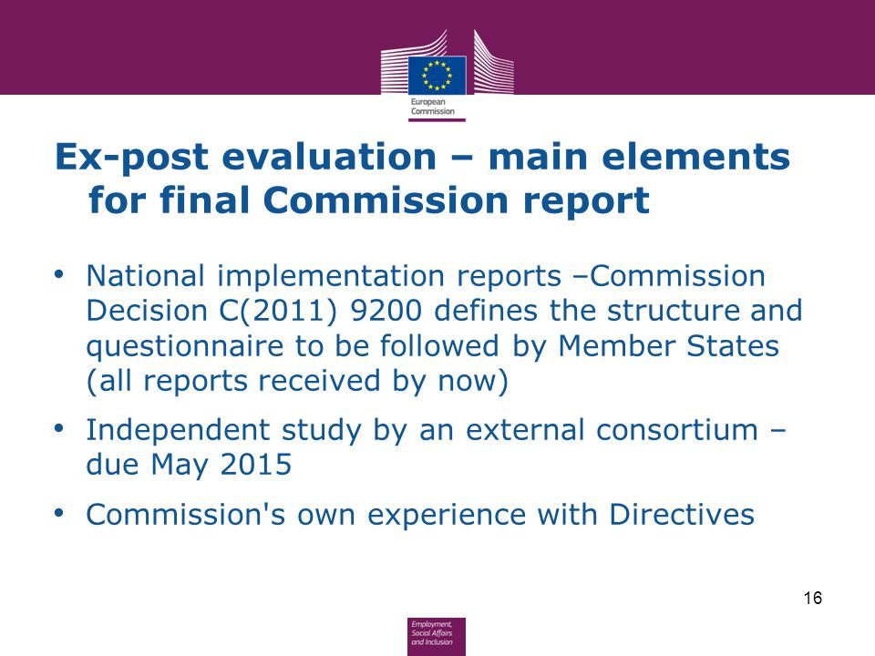 Ex-post evaluation – main elements for final Commission report