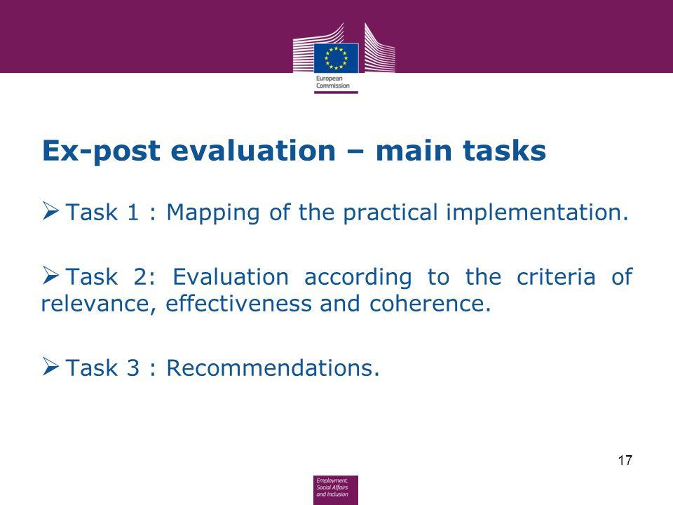 Ex-post evaluation – main tasks