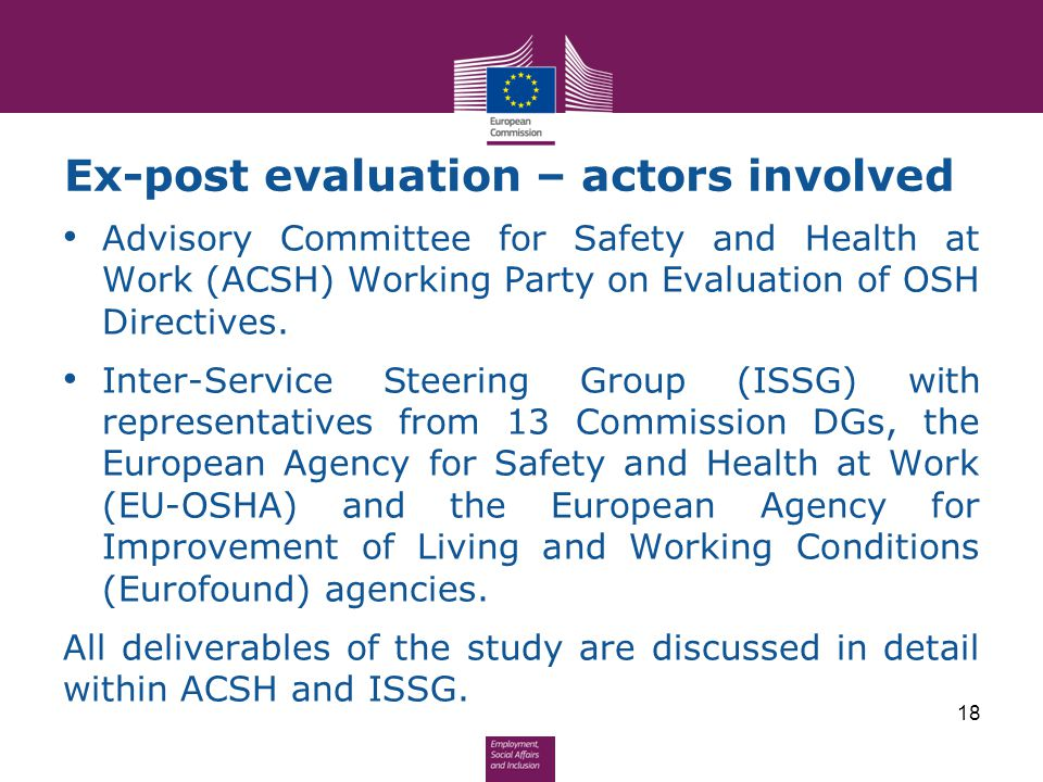 Ex-post evaluation – actors involved