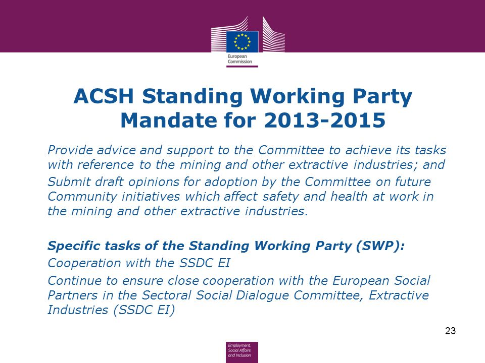 ACSH Standing Working Party Mandate for 2013-2015