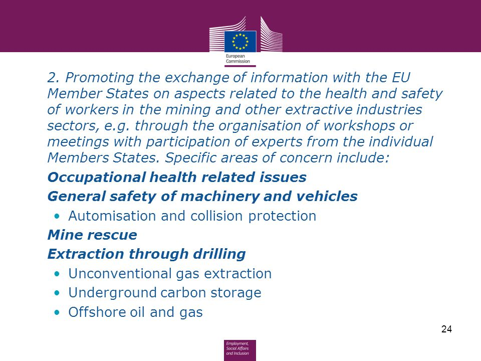 2. Promoting the exchange of information with the EU Member States on aspects related to the health and safety of workers in the mining and other extractive industries sectors, e.g. through the organisation of workshops or meetings with participation of experts from the individual Members States. Specific areas of concern include: