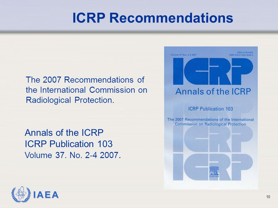 ICRP Recommendations Annals of the ICRP ICRP Publication 103