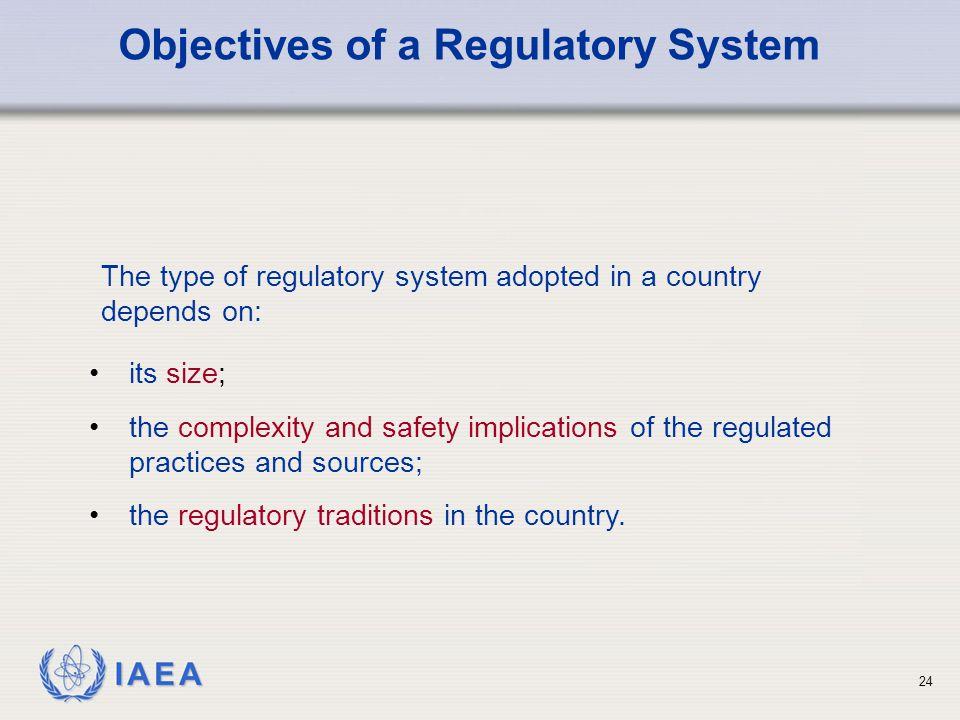 Objectives of a Regulatory System