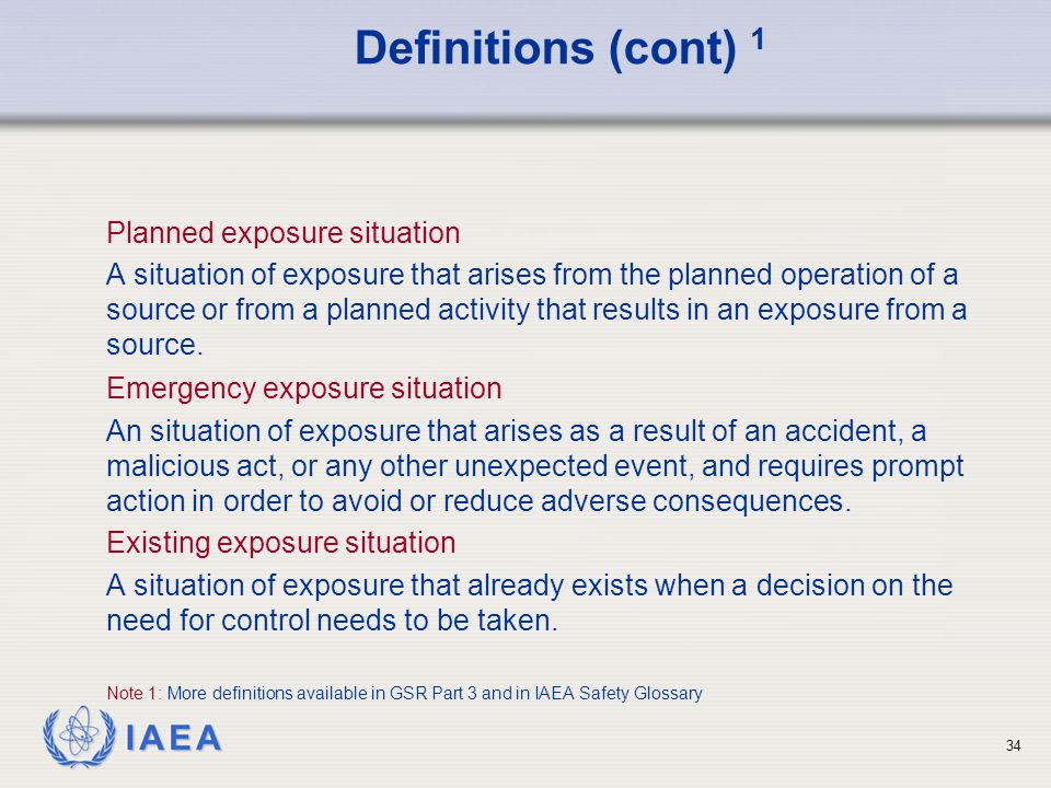 Definitions (cont) 1 Planned exposure situation