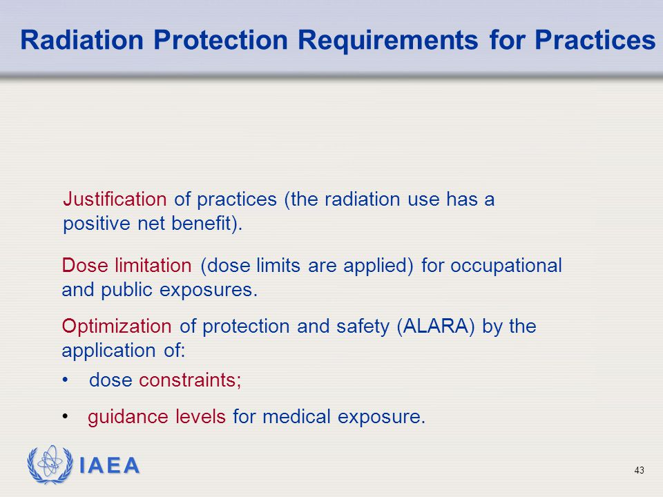 Radiation Protection Requirements for Practices