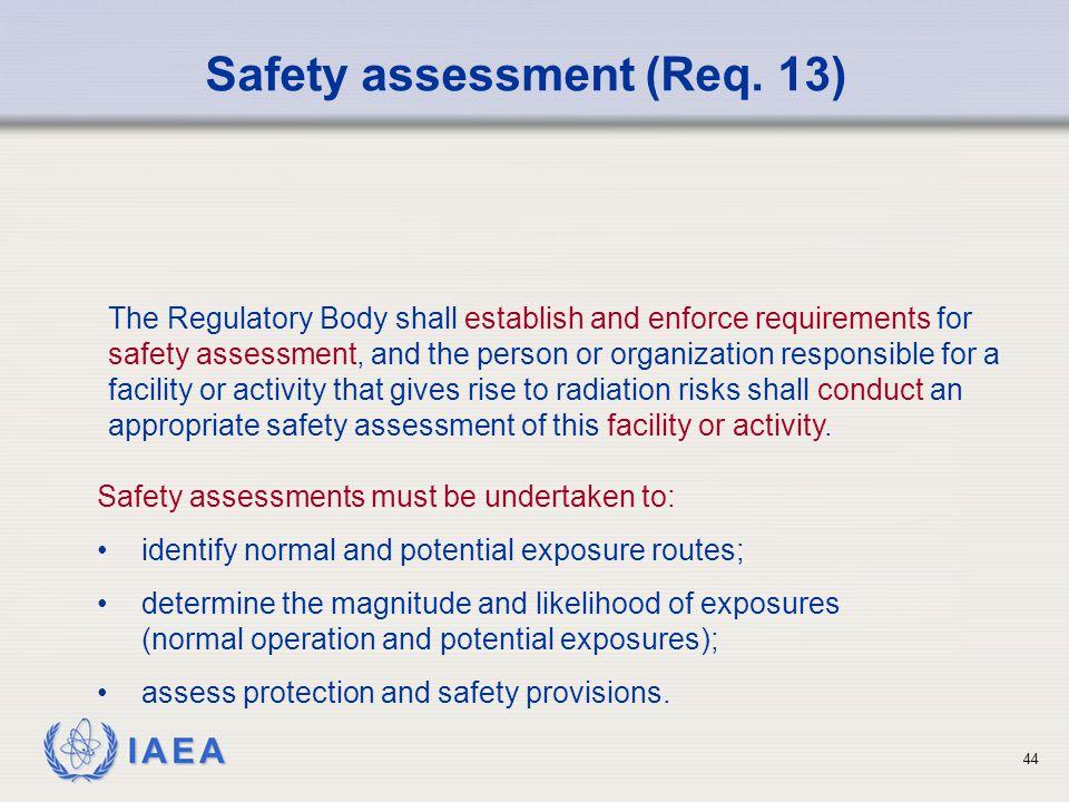 Safety assessment (Req. 13)