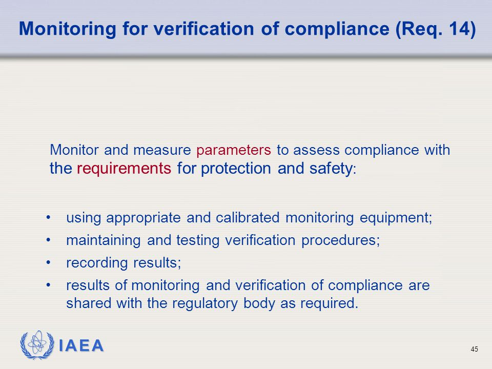Monitoring for verification of compliance (Req. 14)